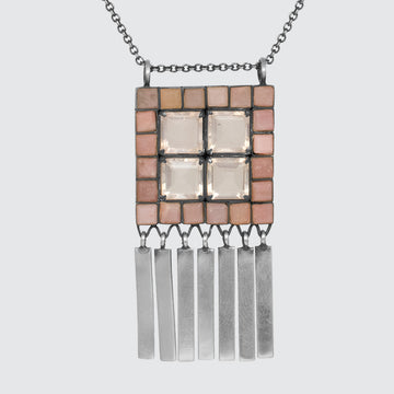 Deco Pendant Necklace with Silver Fringe