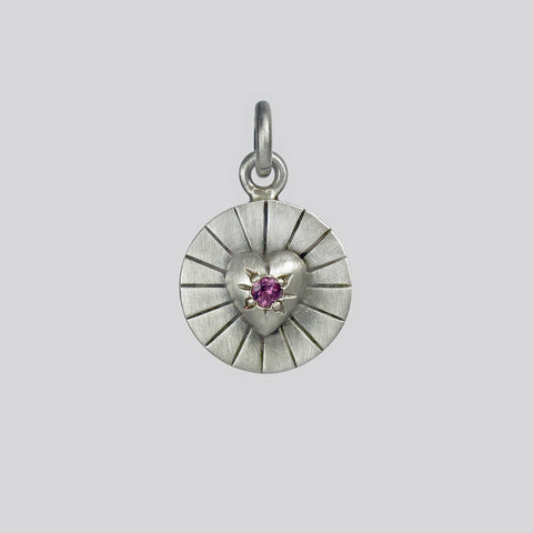 Radiant Heart Disc charm with Faceted Garnet