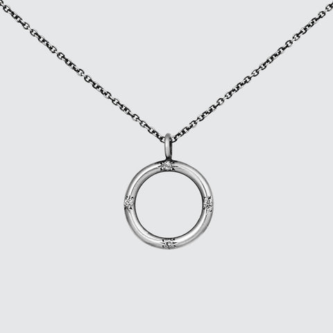 Circle Pendant with Four Star Set Stones