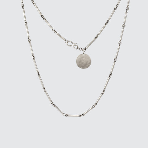 Short Bar Chain with Disc Necklace