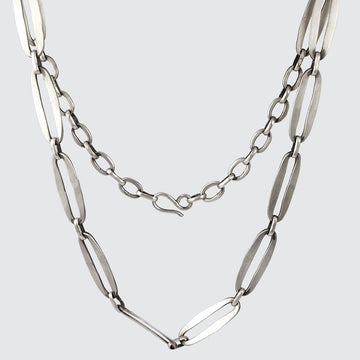 Hammered Oval Link Chain Necklace
