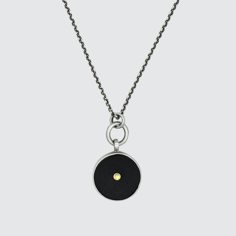 Stone Pendant Necklace with 10K Gold Disc