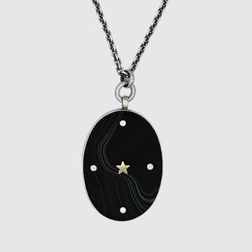 Large Oval Stone Pendant Necklace with Gold star