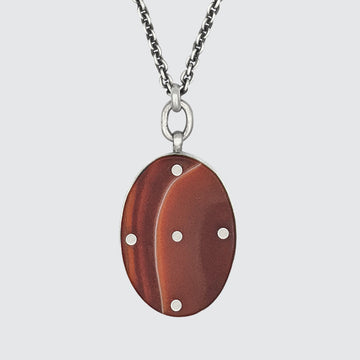 Large Oval Stone Pendant Necklace