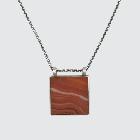 Square Stone Amulet Necklace