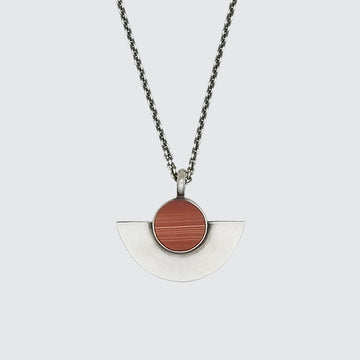 Stone with Half Moon Pendant Necklace