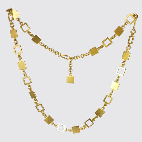 Square Shape Cut Out Chain Necklace
