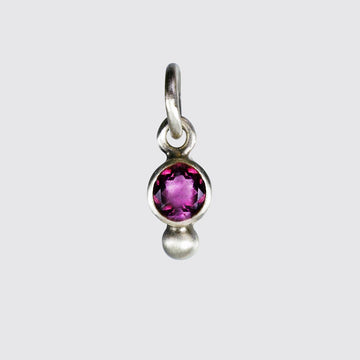 Dainty Faceted Stone Charm with Single Granulation