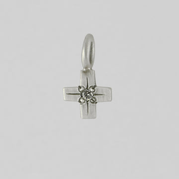 Tiny Cross Charm with Star Set Diamond