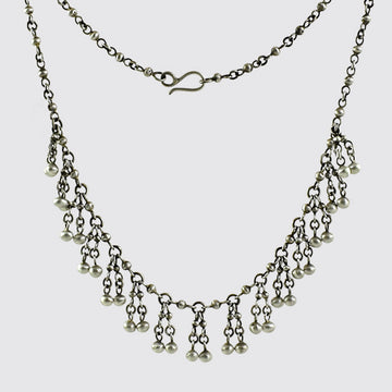 Handmade Ball Chain Necklace With Ball Fringe - PJ442