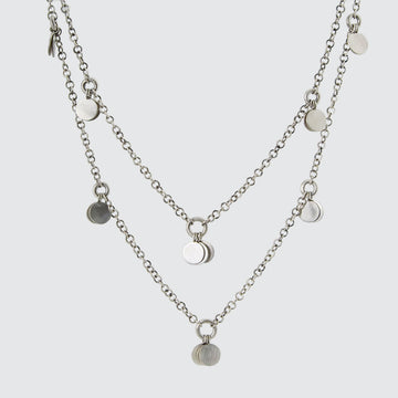 Long Handmade Chain Necklace with Disc Dangles