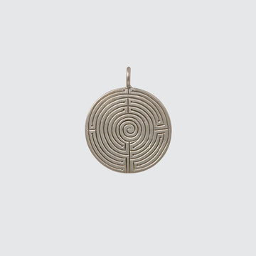 Large Etched Labrynth Disc Charm