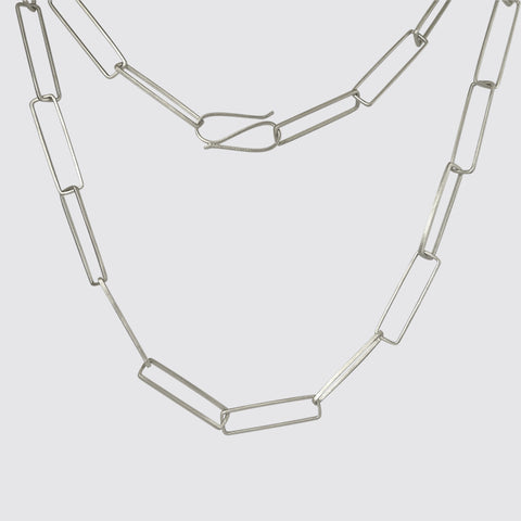 Long Rectangular Link Chain Necklace