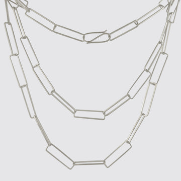 Extra Long Rectangular Link Chain Necklace