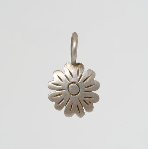 Hand Etched Flower Charm