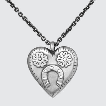Large Heart Pendant with Flowers and Horeshoe