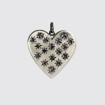 Large Heart Charm With Star Set Stones