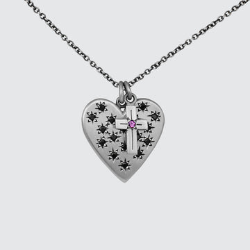 Large Heart and Cross Charm Necklace