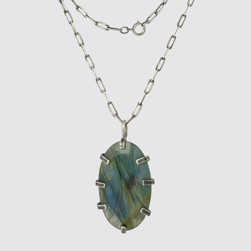 Oval Labradorite Pendant Necklace