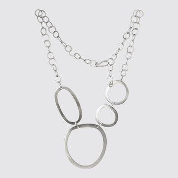 Abstract Hammered Cut-Out Circles Necklace