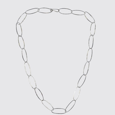 Oval Link Hammered Chain Necklace