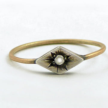 Dainty Gold and Silver Ring with Tiny Star-Set Diamond