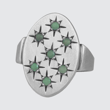 The Firmament Sterling Silver Ring with Star-Set Stones