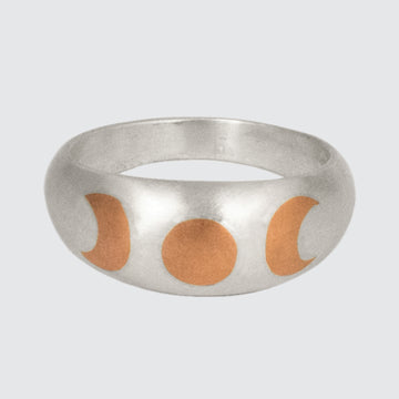 Phases Of The Moon Copper Inlay Ring