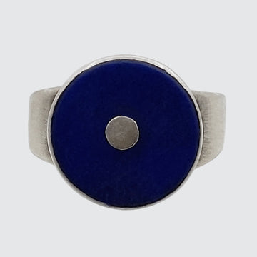 Single Disk Round Stone ring
