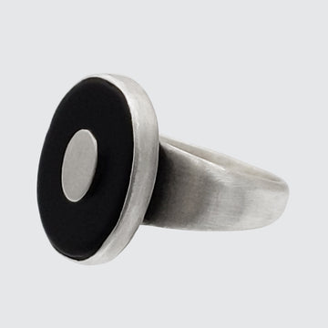 Oval Stone Ring with Oval Disc