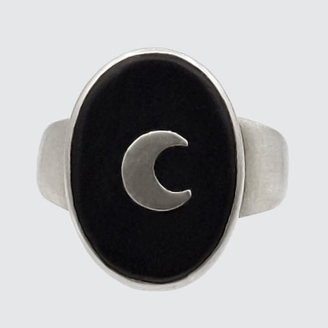 Oval Stone Crescent Moon Ring