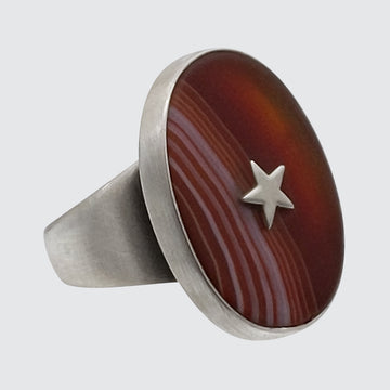Large Oval Stone Ring with Star Center