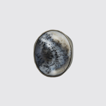 Oval Dendrite Opal Ring In Size 8