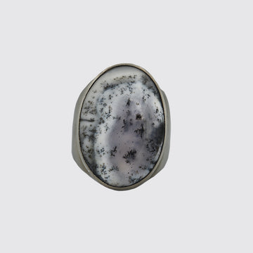 Oval Dendrite Opal Ring In Size 9