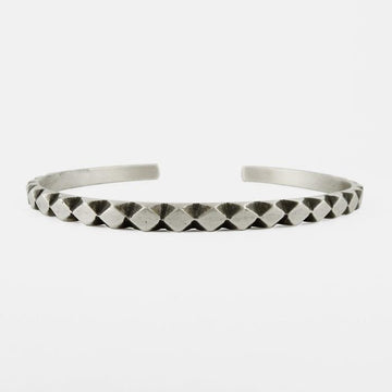 Hand Carved Diamond Pattern Cuff Bracelet
