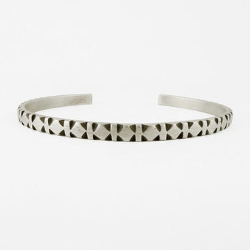 Hand Carved Diamond and Stripe Pattern Cuff Bracelet