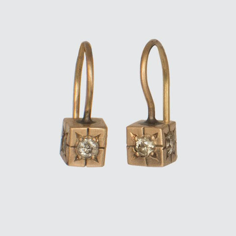 Tiny Solid Gold Cube earring with Four Star Set Diamonds