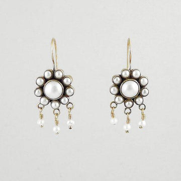 White Pearl Flower Earrings with Tiny Pearl Dangles