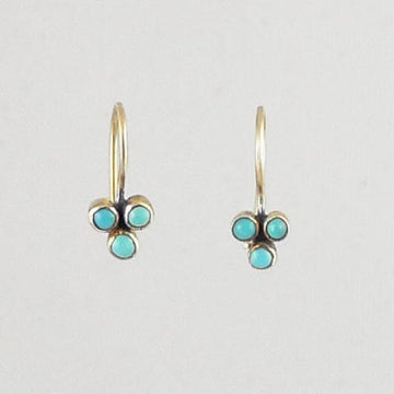 Tiny Clover Stone Cluster Gold Earrings