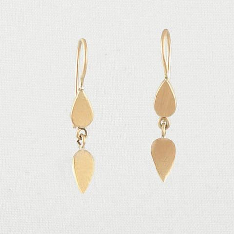 Delicate double Leaf dangle earrings