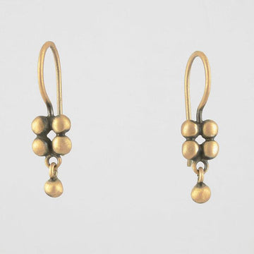Tiny Square of Granulation with Ball Dangle Gold Earring