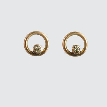 Tiny Circle Stud earring with Diamond