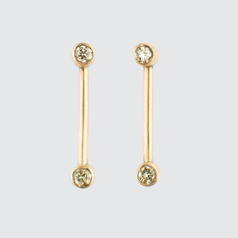 Vertical Gold Bar Stud with Two Diamonds