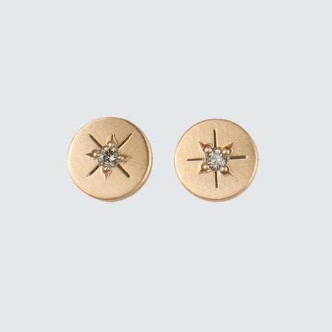 Gold Disc Stud with Star Set Diamond