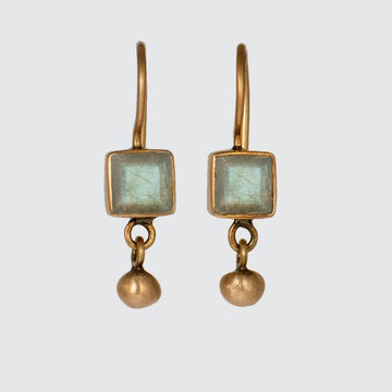 Tiny Faceted Square Stone Earring with Ball Dangle in 10K Gold