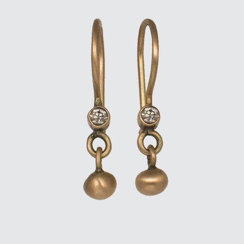 Tiny Diamond with Ball Drop Earrings in Gold