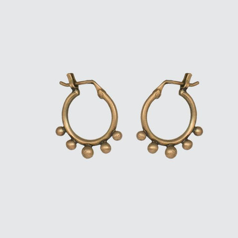 Dainty Granulated Hoop Earrings in Gold