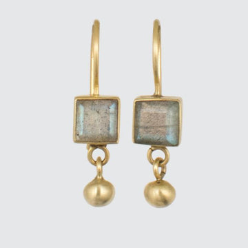 Tiny Faceted Square Stone with Ball Dangle Earrings in 14K Gold