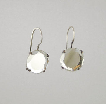 Simple Faceted Stone Drop Earrings