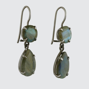Double Faceted Stone Drop Earrings